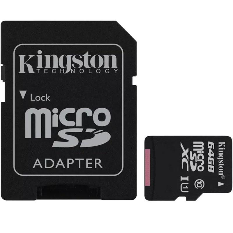 Kingston 64GB Canvas Select micro SD Karte (SDXC) + SD Adapter - 80MB/s