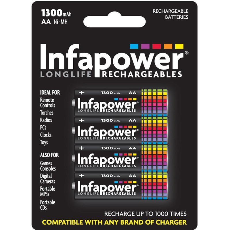 Infapower 1300mAh AA Longlife Wiederaufladbare Batterien - 4er Pack