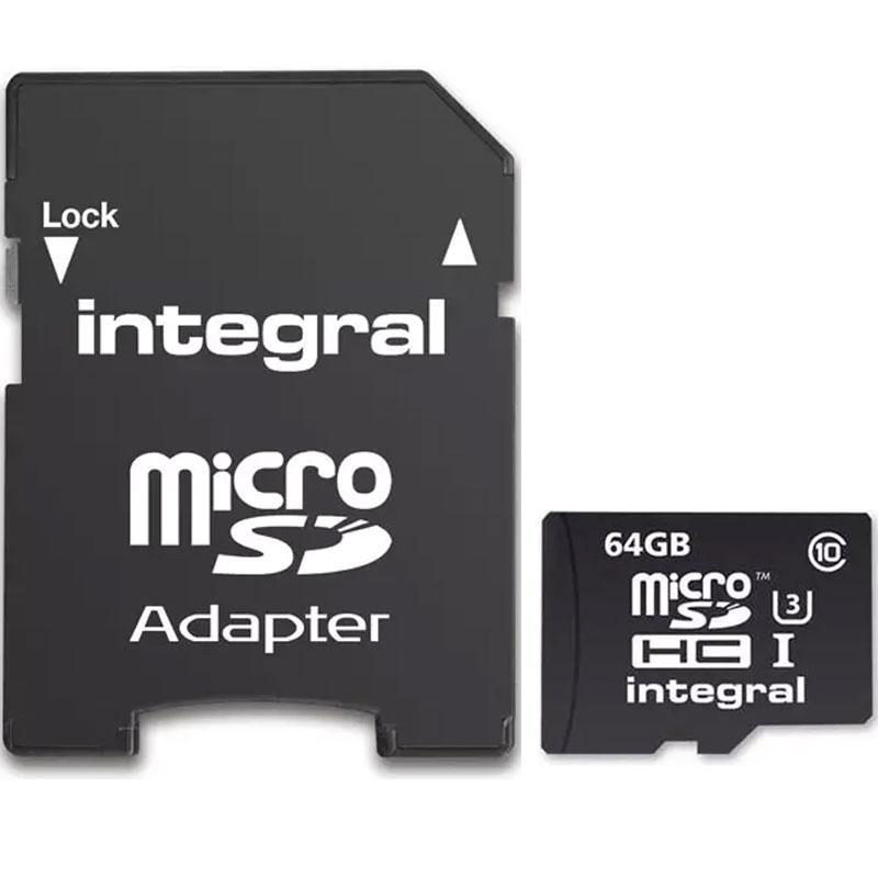 Integral 64GB Actionkamera Micro SDXC Karte mit 4K Aufnahme Class 10 UHS-I U3 90MB/s