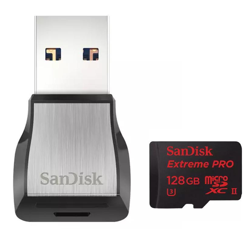 SanDisk 128 GB Extreme PRO Micro SD Karte (SDXC) UHS-II U3 + USB 3.0 Reader - 275MB/s