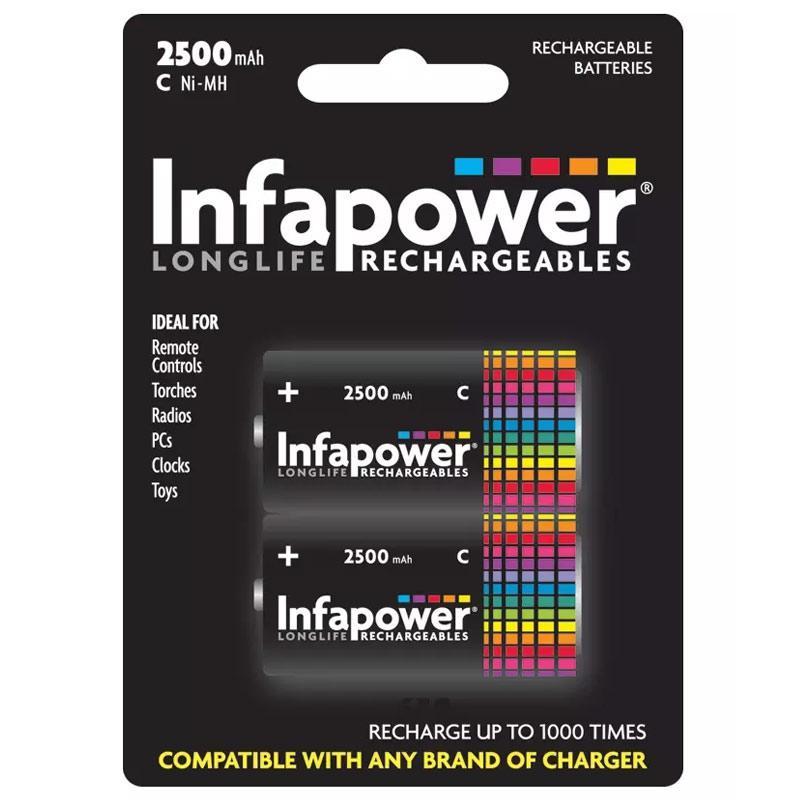 Infapower 2600mAh wiederaufladbare C NiMh Batterien - 2er Pack