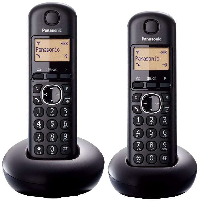 Panasonic Twin Digital Cordless Telephone with LCD Display - Black (KX-TGB212EB)