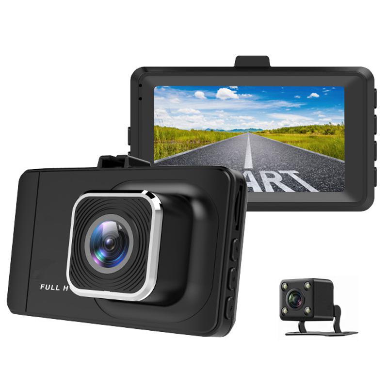 WDR 1080p Car Dash Cam Dual Lens + Rear Camera - Black