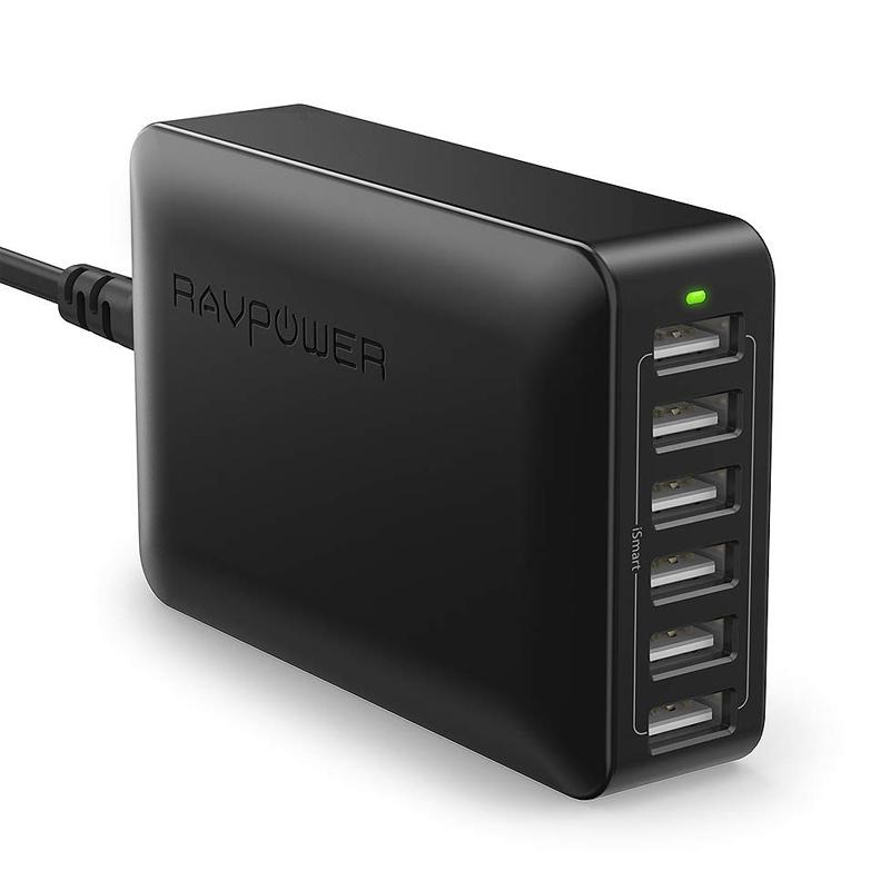 RAVPower 12A 60W 6 Port USB Mains Charger - Black