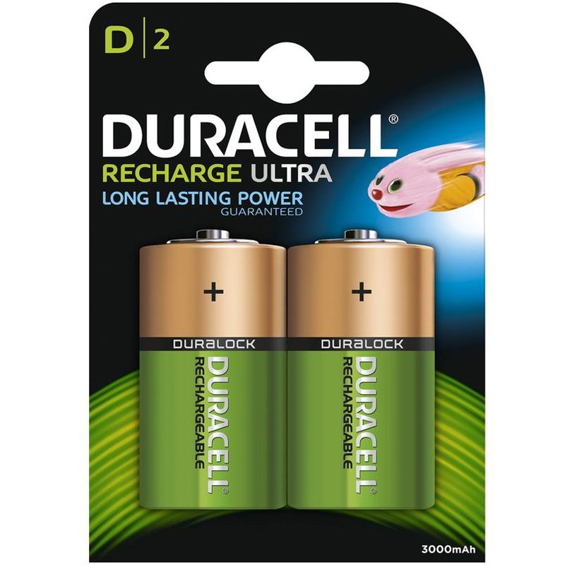 Duracell Recharge Ultra 3000mAh D HR20 1.2v Rechargeable Batteries - 2 Pack
