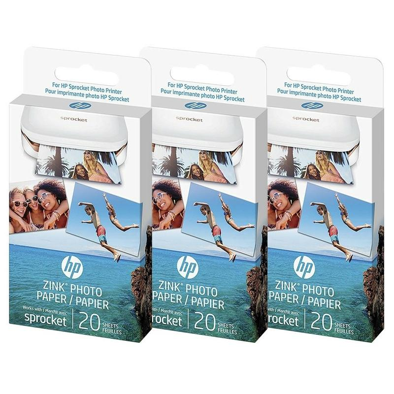 HP Sprocket ZINK Sticky Backed Photo Paper 20 Sheets 290gsm - 3 Pack