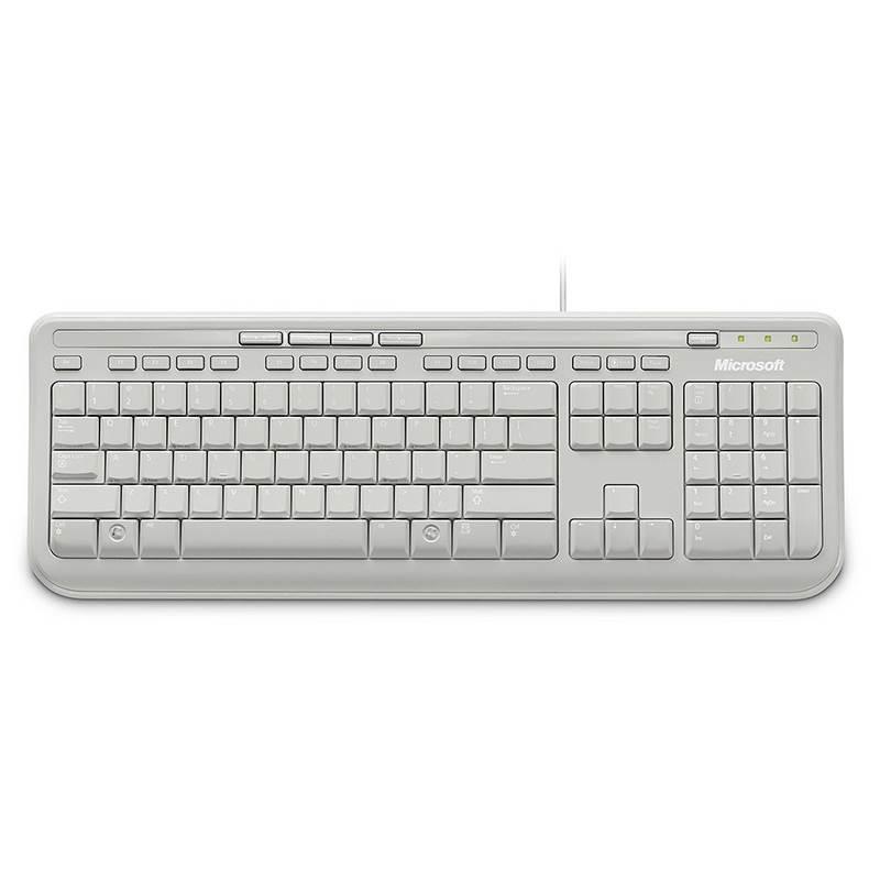 Microsoft Wired USB Spillproof Keyboard 600 White EN UK