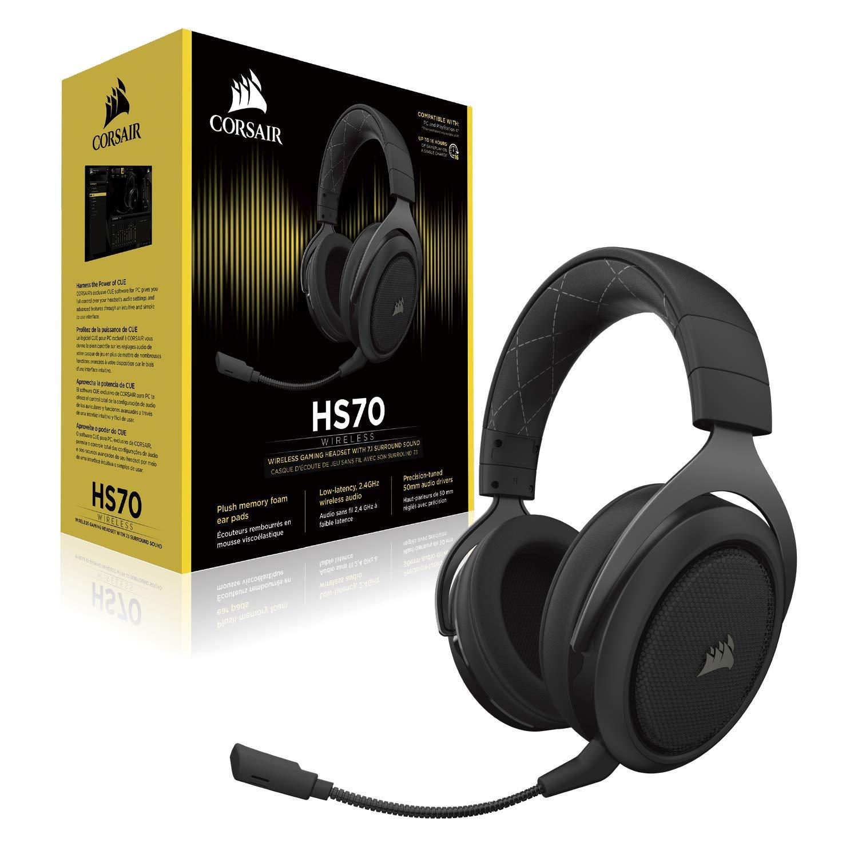 Corsair HS70 Wireless Gaming Headset 7.1 Surround Sound + Mic (Carbon)