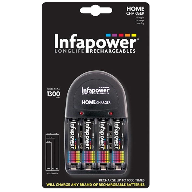Infapower Home Battery Charger + 4 x 1300mAh AA Rechargeable Batteries