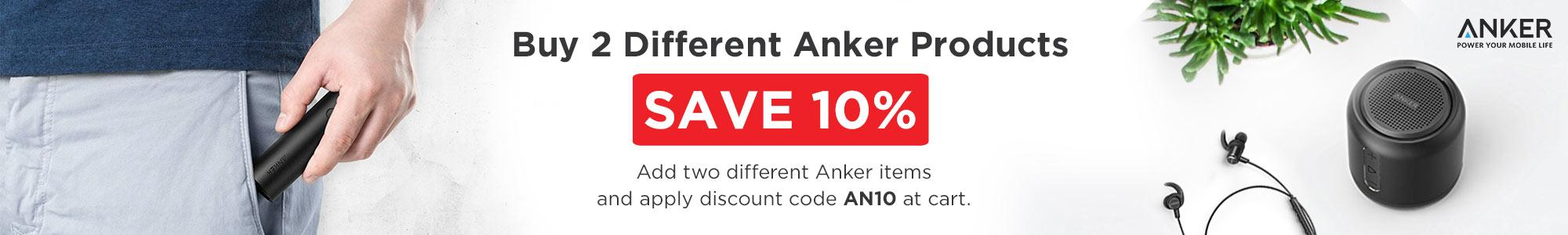 Buy 2 Different Anker Products Save 10%