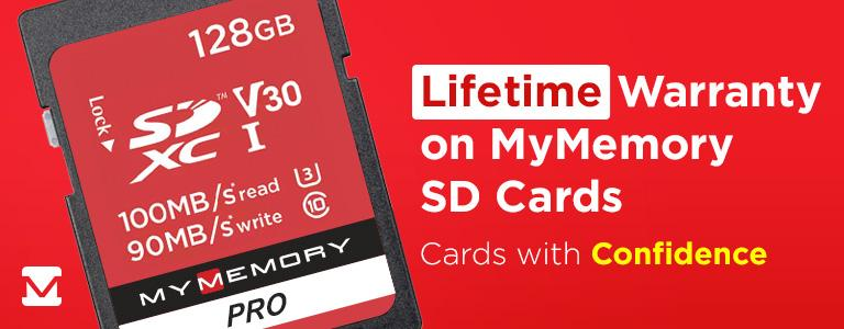 Lifetime Warranty on MyMemory SD Cards! Cards with Confidence