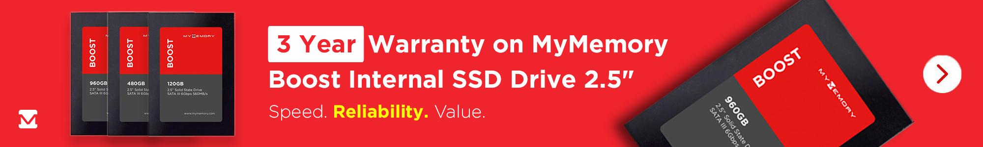 3 Year Warranty on MyMemory Boost SSD!