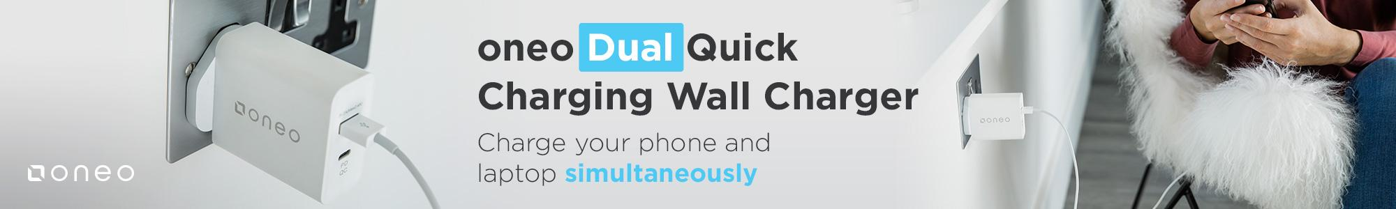 oneo Dual Quick Charging Wall Charger! Charge your phone and laptop simultaneously