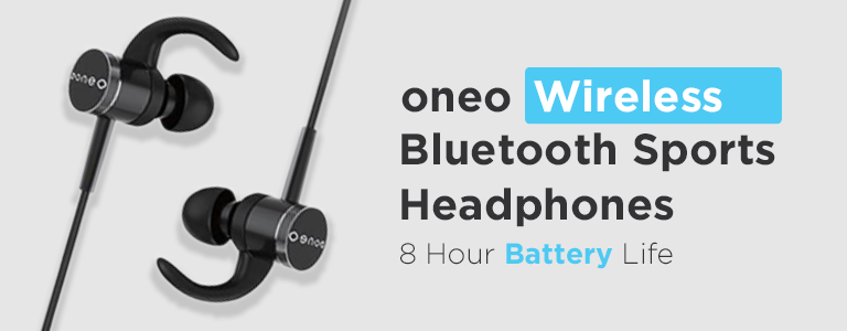 oneo Wireless Bluetooth Sports Headphones! 8 Hour Battery Life